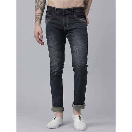 Stylox Men Raymond Mid Rise Whisker Cloud Wash Blue Jeans-DNM-LBCLD-4141-02, 36
