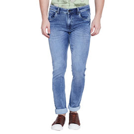 Stylox Men's Premium Light Blue Mid Rise Skinny Fit Cleans Look Stretchable Jeans-DNM-GRY-4076-01, 32