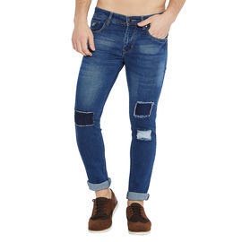 Stylox Men's Premium Stretchable Slim Fit Whisker Washed Patch Work Blue Jeans-DNM-DDB-4130, 30
