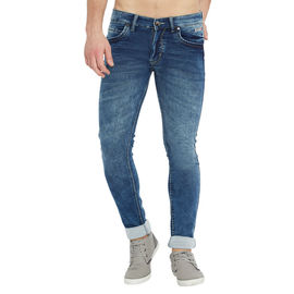 Stylox Men's Premium Stretchable Slim Fit Whisker Washed Blue Jeans-DNM-MBL-4118-04, 34