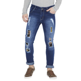 Stylox Men's Blue Washed Slim Fit Mildly Distressed Stretchable Jeans-DNM-CMFLG-4119, 28