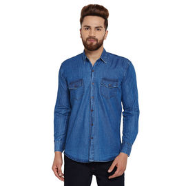 Stylox Men's Denim Dark Blue Casual Shirt-SHT-DBL-1062, l