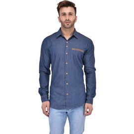 Stylox Men's Solid Casual Dark Blue Shirt - SHT-ZPRK-DB, m