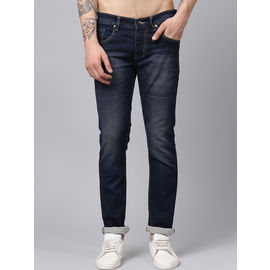 Stylox Men Blue Slim Fit Stretchable Mid Rise Washed Jeans-DNM-BRT-4089-02, 30