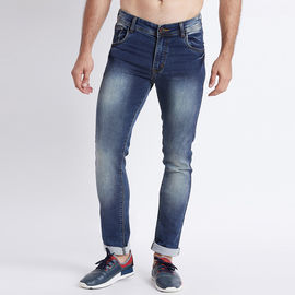 Stylox Men Slim Fit Mid Rise Dark Blue Washed Jeans-5026, 28