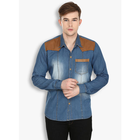 Stylox Men s Solid Casual Blue Shirt(217), 38