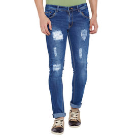 Stylox Men' s Premium Stretchable Casual Wear Slim Fit Mid-Rise Highly Damaged Jeans-LB-DMG-4065, 28