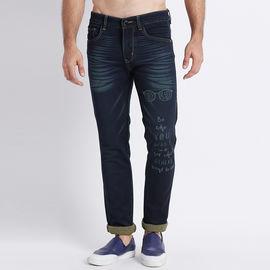 Stylox Men Slim Fit Mid Rise Laser Washed Dark Blue Jeans-5211007, 36