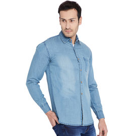 Stylox Men's Denim Ice Blue Casual Shirt-SHT-ICEBLUE-1064, xl