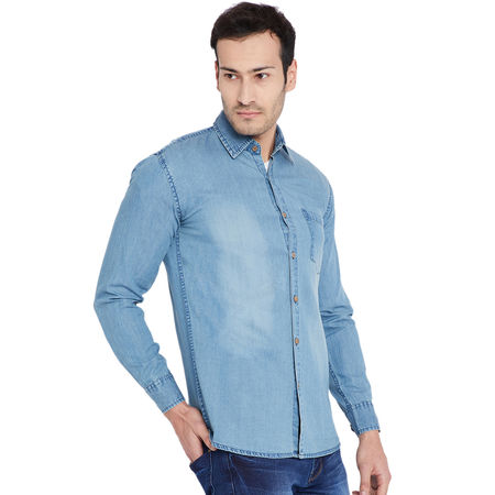 Stylox Men s Denim Ice Blue Casual Shirt-SHT-ICEBLUE-1064, xl
