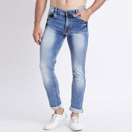 Stylox Men Slim Fit Mid Rise Light Blue Washed Jeans-5024, 34