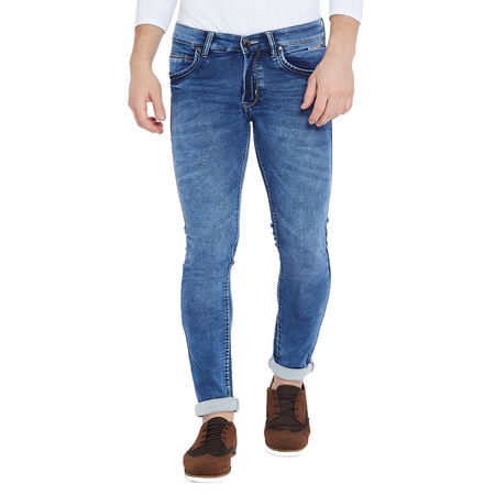 Stylox Men s Premium Stretchable Slim Fit Whisker Washed Dark Blue Jeans-DNM-DB-4118-05, 28