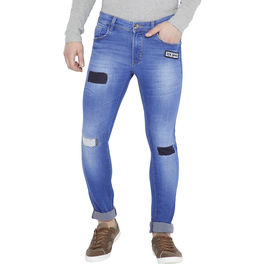 Stylox Men's Light Blue Whisker Slim Fit Mid Rise Stretchable Jeans-DNM-GRDP-4106-01, 28