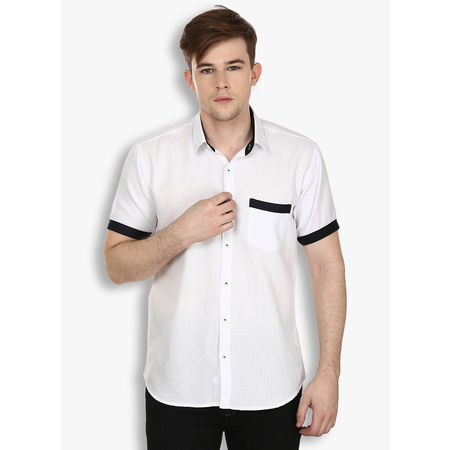 Stylox White Half Sleeve Casual Cotton Shirt(SHT033), 40