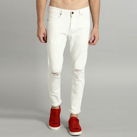 Stylox Men Comfort Fit Stretchable Mid Rise White Knitted Distressed Jeans-4147-01, 28