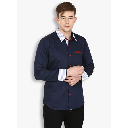 Stylox Nvy Blue Casual Fit Cotton Shirt(SHT027), 46