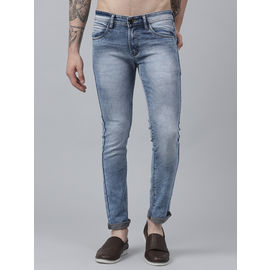 Stylox Men Cotton Lycra Mid Rise Whisker Tined Cloud Wash Blue Jeans-DNM-ICE-4146-02, 30