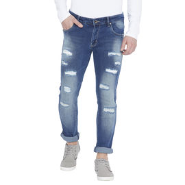Stylox Men's Blue Slim Fit Mid Rise Low Distress Stretchable Jeans-DNM-BLZO-4121, 34