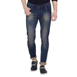 Stylox Men's Stylish Premium Stretchable Slim Fit Mid Rise Light Shaded Brown Jeans-DNM-BR-4086-02, 32