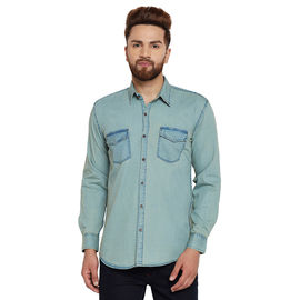 Stylox Men's Denim Light Green Casual Shirt-SHT-GRN-1063, xl