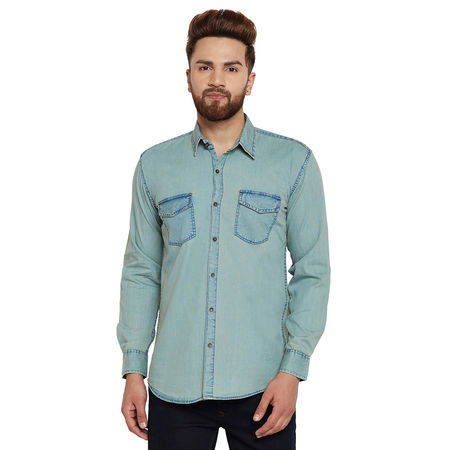 Stylox Men s Denim Light Green Casual Shirt-SHT-GRN-1063, xl