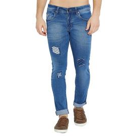 Stylox Men's Premium Stretchable Slim Fit Whisker Washed Patch Work Blue Jeans-DNM-DMB-4131, 36