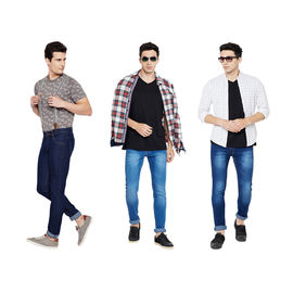Stylox Men's Stylish Slim Fit MultiColor Casual Wear Combo 3 Jeans-DNM-1012-1013-1002, 28