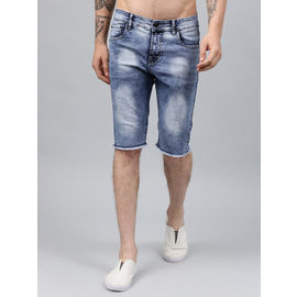 Stylox Men Light Blue Cloud Washed Distressed Denim Shorts-SHORT-CLDLB-4140-06, 36