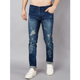 Stylox Men Slim Fit Mid Rise Rugged Blue Jeans-55111030, 34, 1pcs