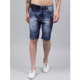 Stylox Men Blue Damaged Stretchable Denim Shorts-SHORT-CLDDB-4140-07, 36