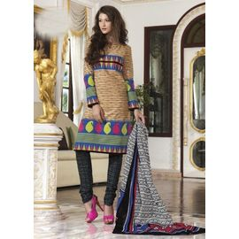 Cotton Suits - Beige Churidar Salwar Kameez