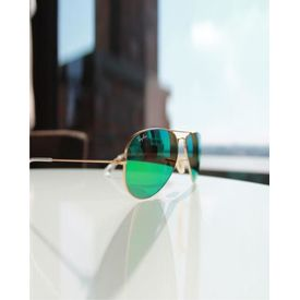RayBan Golden Frame Green Mercury Aviators Stylish Sunglasses