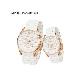 Imported Emporio Armani White Silicon Couple Watch Set