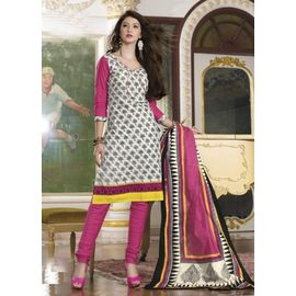 Cotton Suits - White & Pink Churidar Salwar Kameez