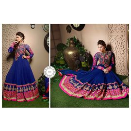Floor Length Blue Anarkali with Pink Embroidery Suit