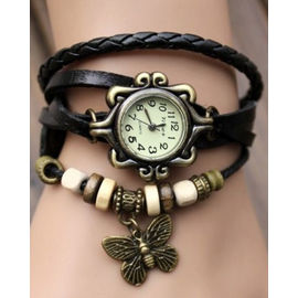 Elegant Black Leather strap Vintage Butterfly Bracelet Watch for women and ladies