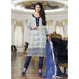 Designer Daily Wear White & Blue Cotton Salwar Suit with Dupatta