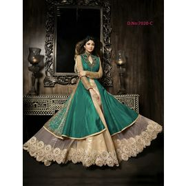 Designer Shilpa Shetty Original karma Green Color Dress with Golden White Net