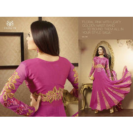 Sherlin Celina jaitley Anarkalis Golden Pink Leafy Waist band on Floral Pink Dress material