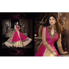 Shilpa Shetty s Silk Weaved Embroieded Top Skirt Glittery and Stone Work Dupatta