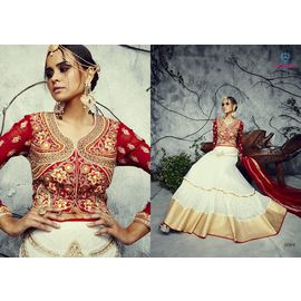 Pure Bhagalpuri Silk Mix Blend of Red Cream and Copper Gold Embroidery Lehenga Choli