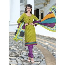 Stylish Daily Wear Green Cotton Salwar Suits