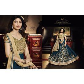 Shilpa Shetty Golden Bluish Georgette Embroieded Anarkali Dupatta Stone Work