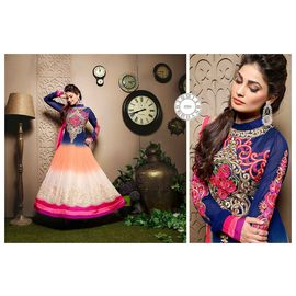 Fancy Designer White Orange and Blue Anarkali Suit