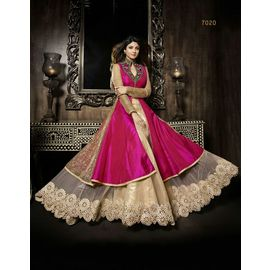 Designer Shilpa Shetty Original karma Pink Color Dress with Golden White Net