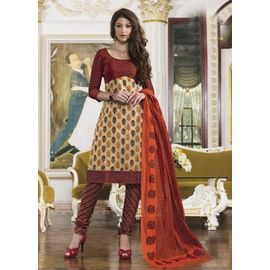 Stylish Daily Wear Beige Cotton Salwar Suit with Dupatta