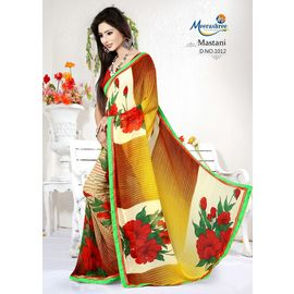 Meerashree Mastani Yellowish Brown shade White background Red Rose Flower Printed Saree with Blouse