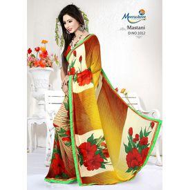 Meerashree Mastani Yellowish Brown shade White background Red Rose Flower Printed Saree with Blouse