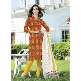 Cotton Suits - Yellow Churidar Salwar Kameez