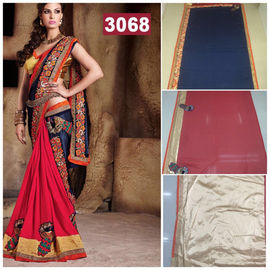 New Designer Elegant Saree Blue Red Golden with Flower Lace Border Work